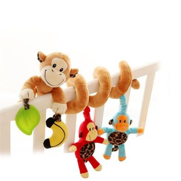 Cute Monkey Design Infant Baby Activity Spiral Bed Stroller Toy Bed Musical Rattles Hanging Bell Crib Toy or Stroller Toy Wraps Around the Crib or Car Seat Travel Activity Toy for 0-36 Month