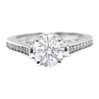 Engagement Ring - Antique Style Round Diamond Pave Set Engagement Ring in 14K White Gold with 0.28 tcw. - ES122