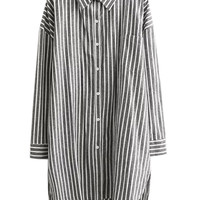 Gray Striped Long Sleeve Blouse