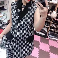 Gucci Casual  Pattern  Lapel Sleeveless Cotton Blend  Edgy Fashion Two-Piece Suit Clothes