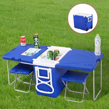 Multi-Function Rolling Cooler With Table And 2 Chairs