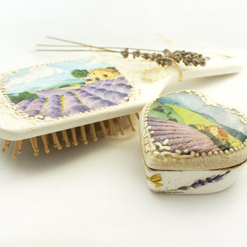 Dreaming of Provence - Set of Natural Wood Hair Brush and ceramic box ,Shabby chic ,French style, Provence , Perfect Gift for a Woman