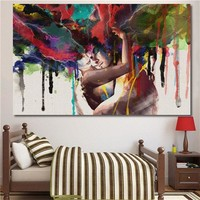 Unframed Canvas Print Room Wall Art Pictures Home Decor Abstract Couple Painting