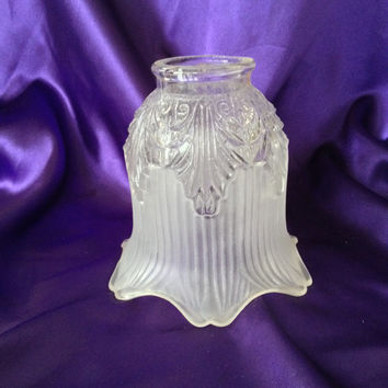 Vintage Sconce Shade, Satin Frosted Tulip Shaped Glass, Floor Lamp, Wall Sconce, Vanity