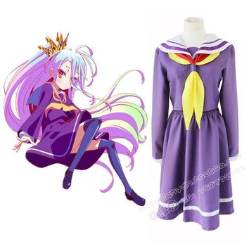 No Game No Life Shiro Cosplay Costumes 2017 New Arrival Free Shipping (Top + Skirt + Necktie)