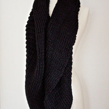 Knitted Scarf, Black Chunky Infinity, Winter, Cozy Black Loop Scarf, Stocking Stuffer Winter Women Accessories Scarves Holidays