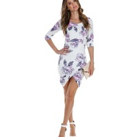 Promo-ivory Nice To Know You Floral Midi Dress