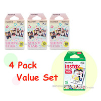 3 Plus 1 - 4 Pack Value Set Fujifilm Instax Mini Film White Plus Shiny Star Polaroid Instant Photos 40 Shots