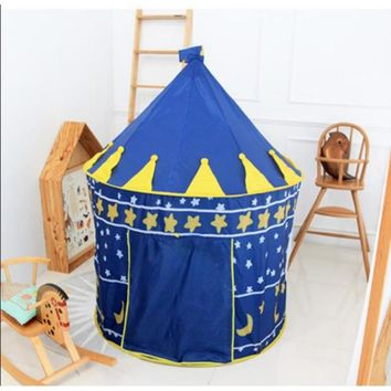 Castle Play Tent Portable Foldable Tipi Prince Folding Tent Children Boy Play House Kids Gifts Outdoor Toy Tents mosquito net