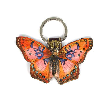 Leather Key Ring / Bag Charm - Cocktail Butterfly