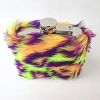Trippy Rave Colorful Faux Fur Hip Flask Case, Fuzzy Tribal Camo 6 oz Flask, 21st Birthday, Bridesmaid Gift, Maid of Honor, Sorority, Wedding