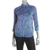 Lauren Ralph Lauren Womens Petites Cotton Paisley Print Button-Down Top