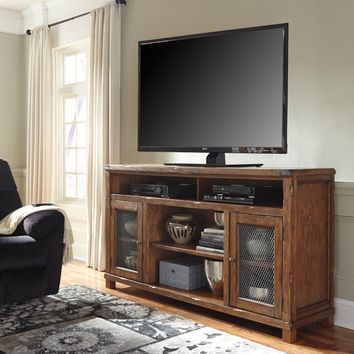 Tamonie collection casual style rustic brown finish wood tv stand