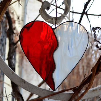 Stained Glass Heart red white Suncatcher, Wall/ Window decor, Glass art, hanging, Home decor, Decoration, Ornament, Valentines day Gift