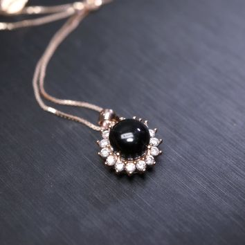 Black Obsidian Necklace Rose Gold, Halo Solitaire CZ Black Gemstone Necklace,  Princess Diana Style Sunflower Necklace, Root Chakra Healing