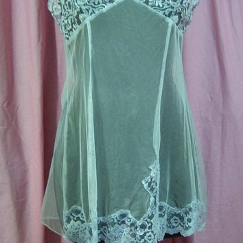 Stretch Net, Sexy Night Gown, Short Chemise, Light Blue, Victoria Secret, Measurements, Size Small, Bridal Honeymoon, Resort Cruise Wear