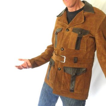 Bitchin Vintage Two Tone Brown Suede Leather Jacket Rockin MOD Lead Singer Fly Guy 1960s Hippie Size Large