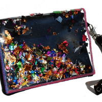 Leather & Glitter Clutch, Purse, Wristlet in Dark Rapture