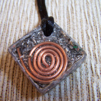 Square Pendant  Orgone - EMF protection - Energy Healing - Positive Energy Necklace - With copper coil
