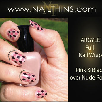 Argyle Nail Decal Preppy Argyle Full Nail Wrap Nail by NAILTHINS