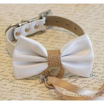 White and burlap Dog Bow Tie ring bearer collar, Pet Wedding, Burlap Wedding