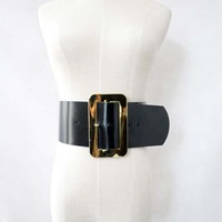 Womens European Genuine Leather Super Wide Belt with Big Rectangular Buckle