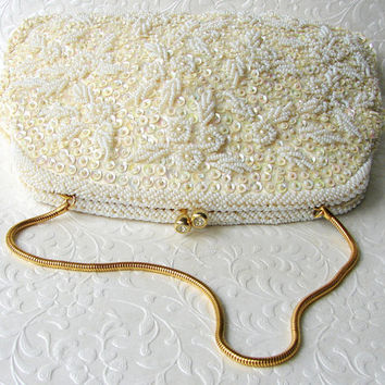 Ivory Wedding Purse Vintage Bridal Handbag Walborg Richer Clutch Hand Seed Beaded Hong Kong Sequin Flowers Rhinestone Clasp Gold Chain Strap