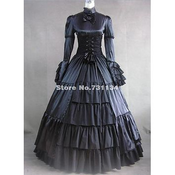 Brand New 2017 Black Cotton Long Sleeve Tiered Floor-Length Long Prom Dresses  Retro Medieval Stage Show Dresses For Women