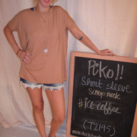 Ice Coffee Short Sleeve Scoop Neck Piko Shirt On Sale   Overstock Boutiques