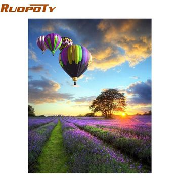 RUOPOTY Frame Romantic Balloon DIY Painting By Numbers Kits Landscape Modern Wall Art Canvas Acrylic Painting For Home Decor