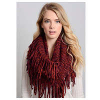 Must Have Beautiful Red Fringe Accent Knit Infinity Scarf