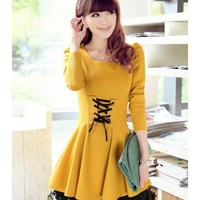 Puff Sleeve Women Autumn New Style Korean Style Slim Sweet Lace Long Sleeve Lace Up Yellow Cotton Dress S/M/L @WH0416y $25.84 only in eFexcity.com.