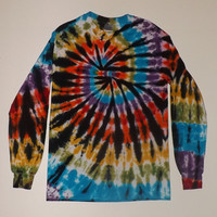 Long Sleeve Tie Dye T-Shirt / Swirl With Black - Choose Any Colors and Any Size