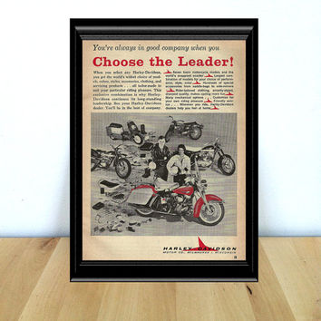 Harley Davidson: Choose the Leader! Retro Motorcycle & Garage Home Decor {1960s} Vintage Advertisement