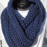 READY TO SHIP, Crochet Loop Scarf, Navy Blue Infinity Scarf, Large Chunky Scarf, Fall Winter, Women's Accessory, Cowl