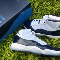 Air Jordan Retro 11 Midnight Navy Men Women Basketball Shoes 11s Midnight Navy Blue White Sports Sneakers With Shoes Box