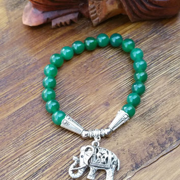 Original Collection- Silver Tone Chinese Elephant/Green Beaded Hand Made Bracelet