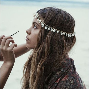 Boho Natural Shell Tassel Headband Head Chain Women Headpiece Hair
