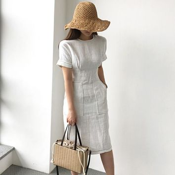 Women Summer Elegant High Waist Pocket Cotton Linen Dress Female Bodycon White Vestido Robe Femme Ete Vintage Jurken Zomer Jurk