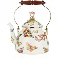 MacKenzie Childs Butterfly Garden Small Enamel Tea Kettle