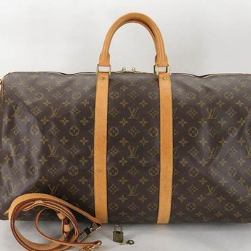 AUTH LOUIS VUITTON M41414 MONOGRAM KEEPALL BANDOULIERE 55 TRAVEL 2WAY BAG EY437