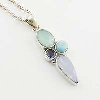 Chalcedony, Larimar, Moonstone Sterling & Iolite Silver Pendant