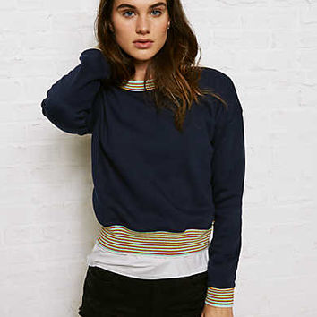 Don't Ask Why Ringer Sweatshirt, Blue