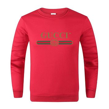 GUCCI Fashion Women Men Casual Print Round Collar Cute Sweater Sweatshirt Red