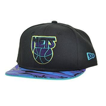 New Era New Jersey Nets Aqua Vize NBA 9FIFTY Binded Snapback Cap Black/Purple ne-aqua