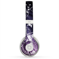 The Dark Purple with Sketched Floral Pattern Skin for the Beats by Dre Solo 2 Headphones