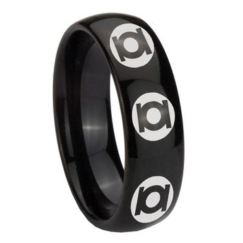 8MM Classic Dome Multiple Green Lantern Shiny Black Tungsten Laser Engraved Ring