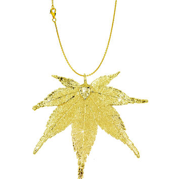 Real Leaf PENDANT with Chain Japanese Maple in 24K Yellow Gold Necklace