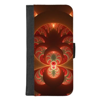 Luminous abstract modern orange red Fractal iPhone 8/7 Plus Wallet Case