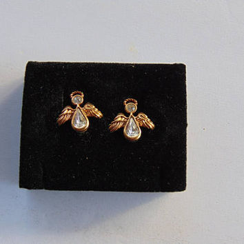 Signed Avon Gold Tone Angel Pierced earrings